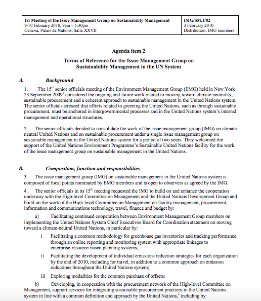 Terms of Reference for the Issue Management Group on Sustainability Management in the UN System (2010)