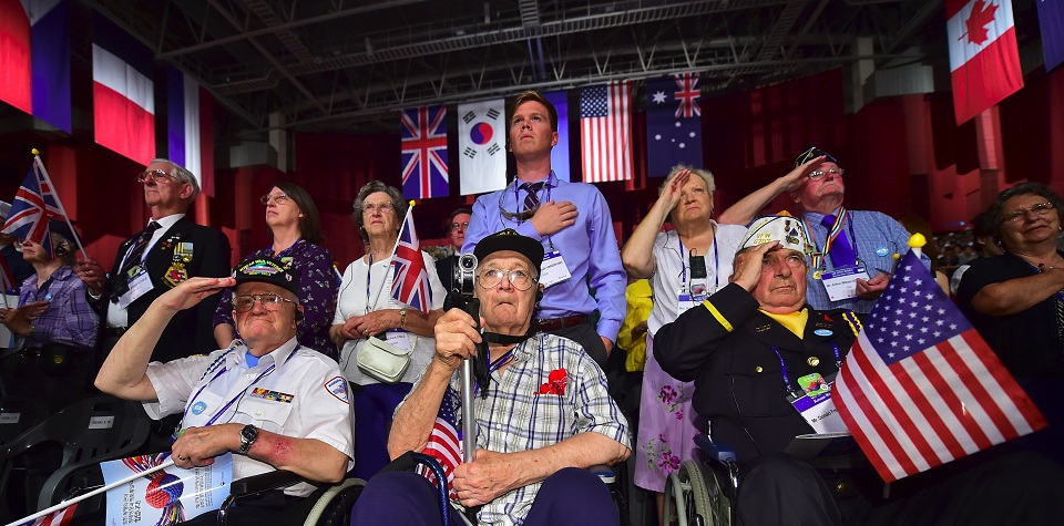 Invited US veterans, who fought in the Korean War under the United Nations flag, and their family members salute during a ceremony to commemorate the 63rd anniversary of the Korean War Armistice Agreement in Seoul on July 27, 2016. The armistice agreement on July 27, 1953 brought three years of active combat in the Korean War to a halt, but the two Koreas are still technically at war as no formal peace treaty was signed. / AFP / JUNG YEON-JE (Photo credit should read JUNG YEON-JE/AFP/Getty Images)
