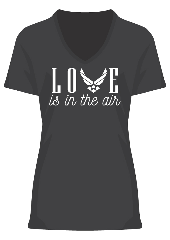 Love is In The Air Chest Print Women's Black T-Shirt