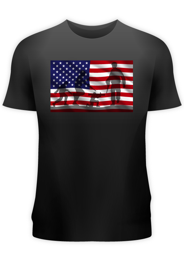 US Flag with Army Chest Print Men's Black T-Shirt