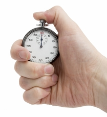 hand with stopwatch