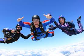 happy parachuters