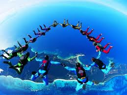 parachute group above earth