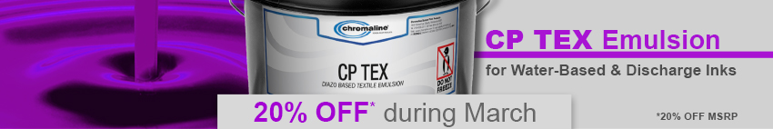20% OFF CP Tex Emulsion - for waterbased, discharge and plastisol inks