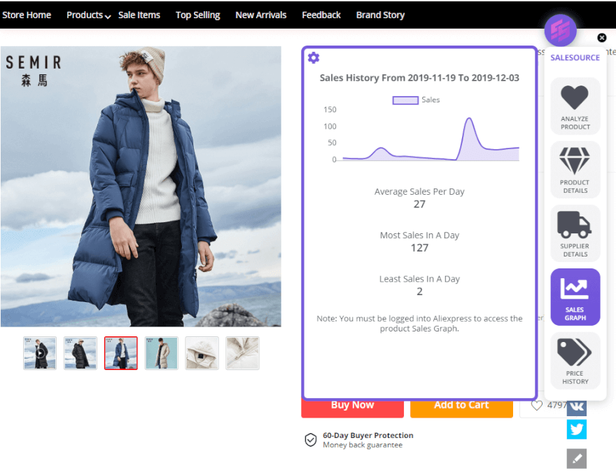 salesource shopify dropship spy store scan