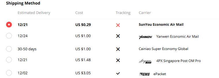 AliExpress shipping order tracking