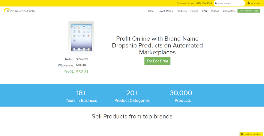 sunrise wholesale dropshipping company usa
