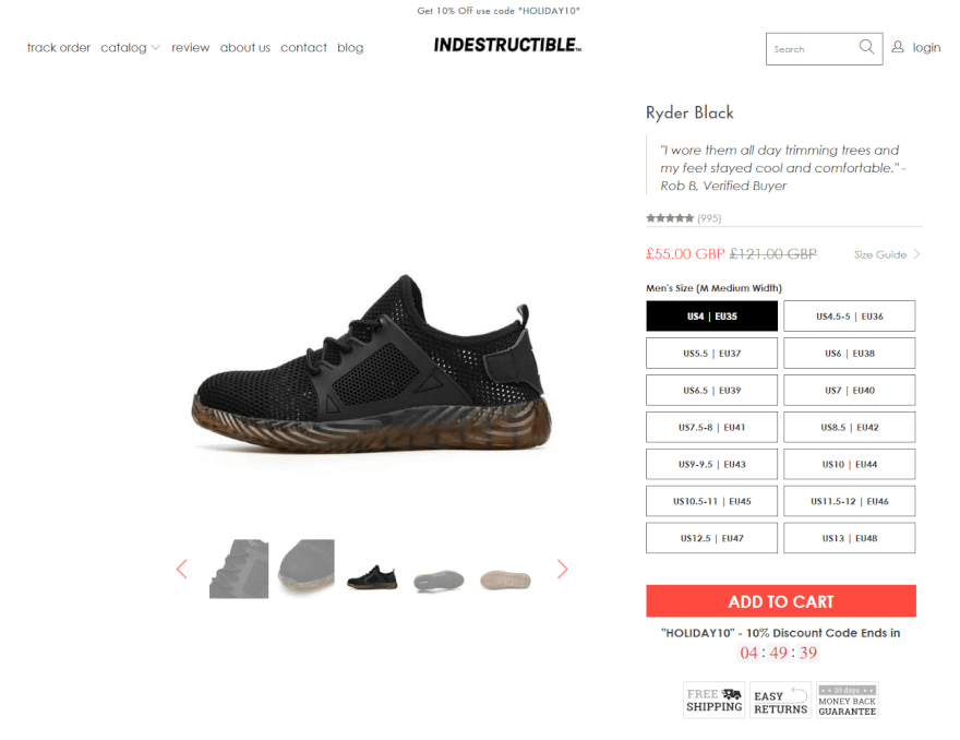 shopify dropshipping stores: Indestructible Shoes store deisgn and apps