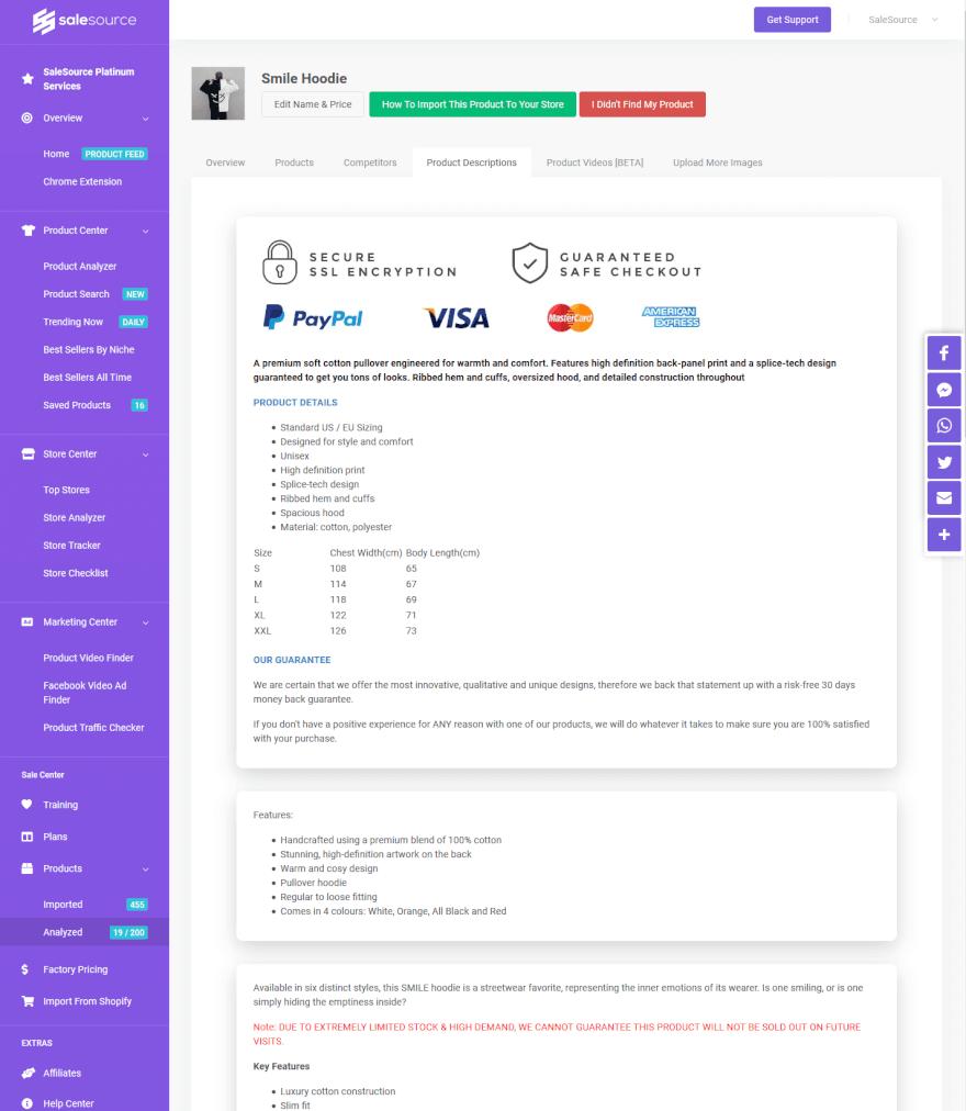 SaleSource Shopify Product Description Finder