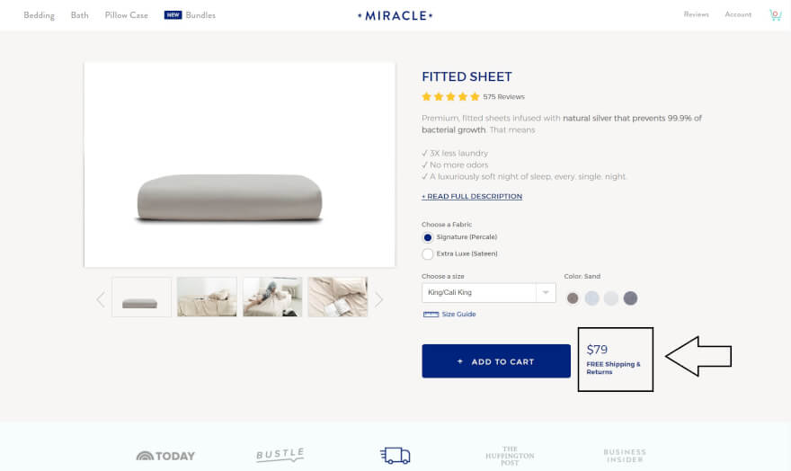 fitted sheet product page