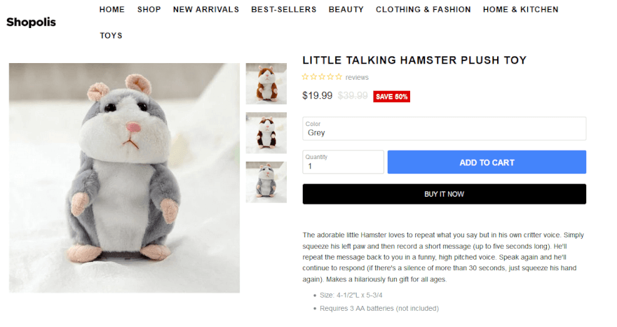 Shopolis Shopify product page with hamster