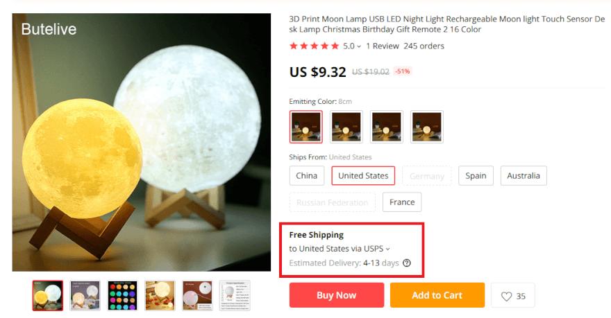 AlIExpress Moon Lamp Free USA Shipping