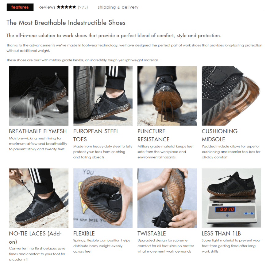 shopify dropshipping stores: Indestructible Shoes important section