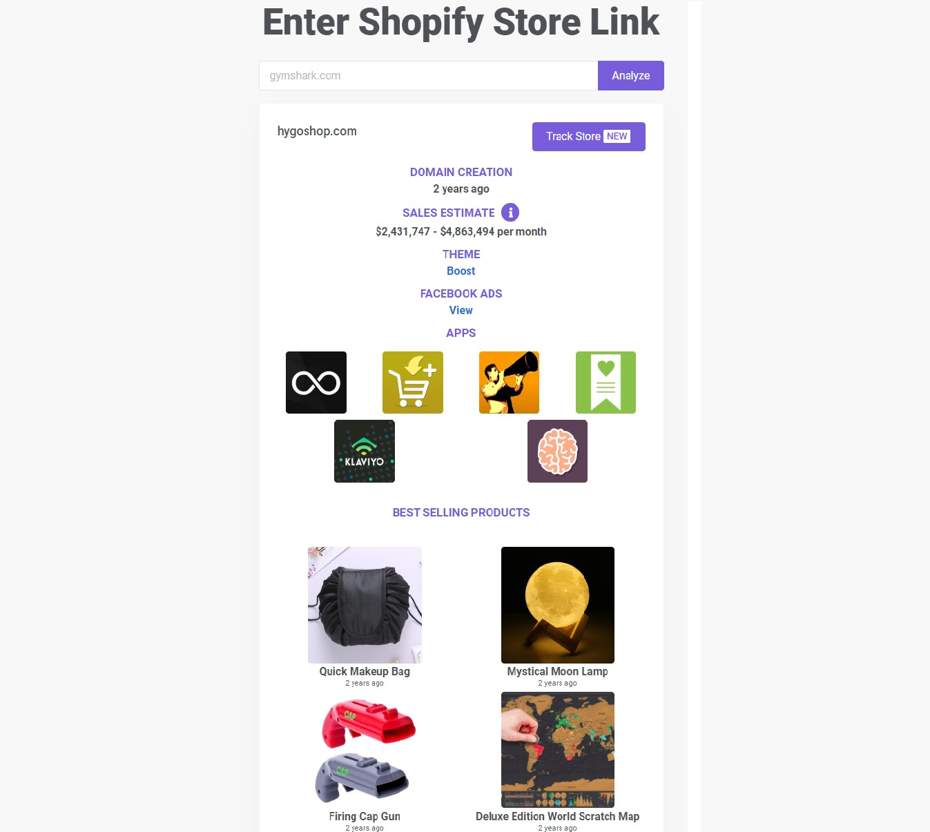 salesource shopify store analysis