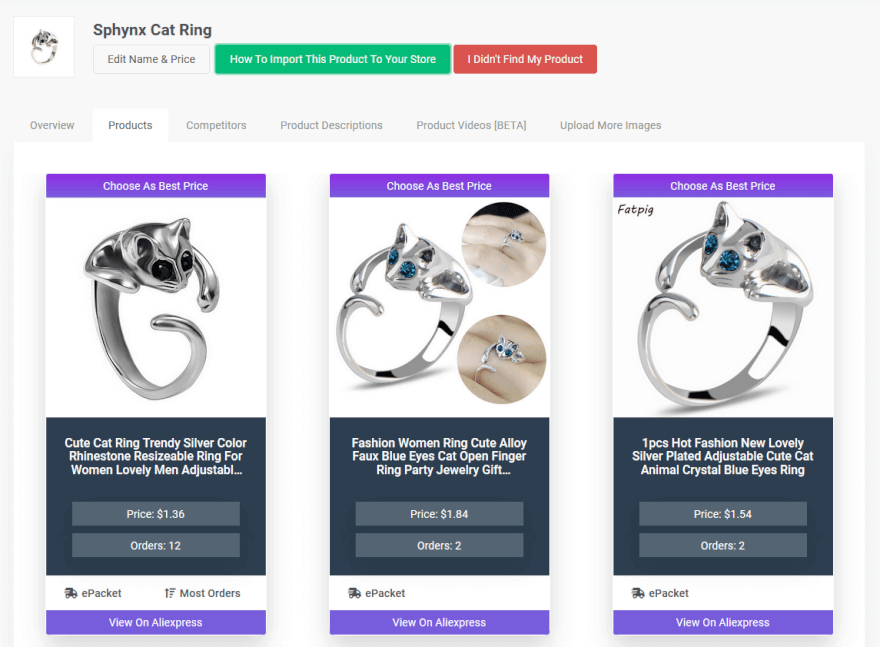 SaleSource product analyzer cat ring