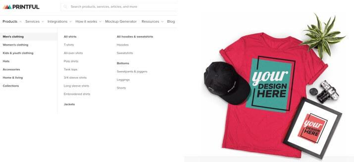 printful on demand cap and t-shirt