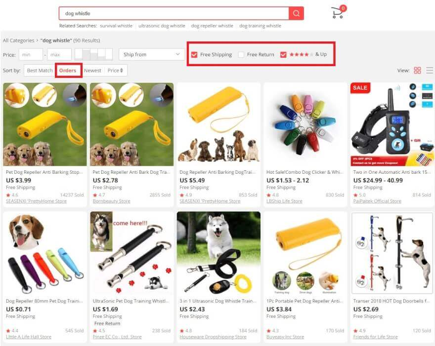 AliExpress search dropshipping products