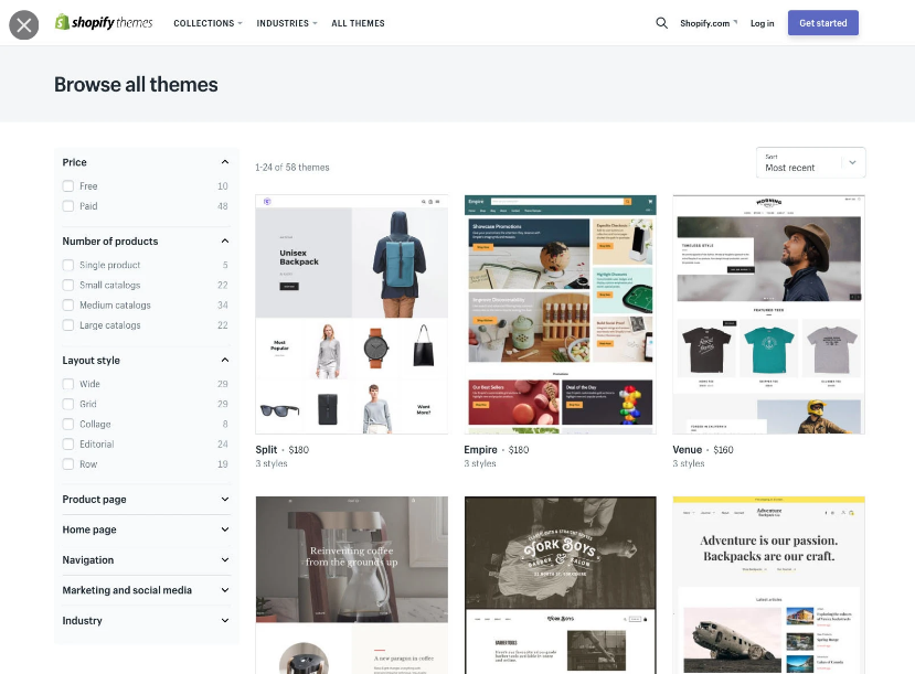 shopify templates and designs