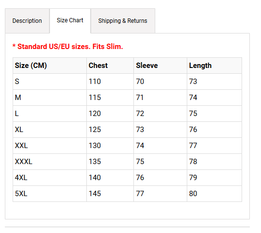 Shopify product description size chart with Tabs App