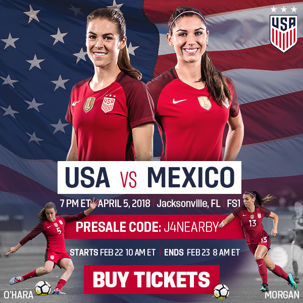 Presale for USWNT vs. Mexico in Jacksonville, Fla.