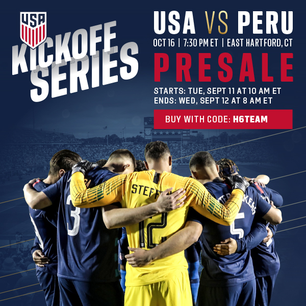 Your Presale for USMNT vs. Peru in East Hartford, Conn.