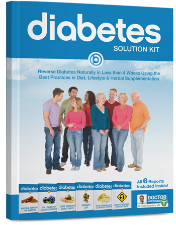 Health Report Cover Text Reads:The Diabetes Solution Kit: Reverse Diabetes Naturally in Less Than 4 Weeks Using the Best Practices in Diet, Lifestyle and Herbal Supplementation All 6 Reports Iccluded Inside