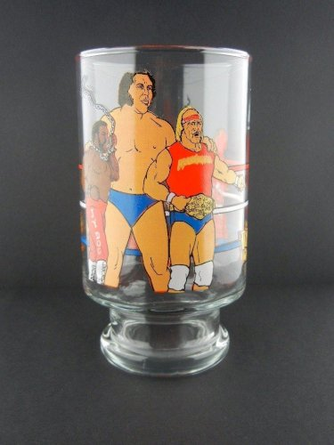 WWF WWE 1985 Glass Hulk Hogan Andre Giant Roddy Piper