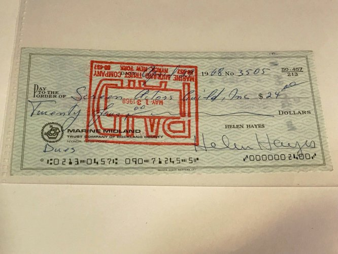 Helen Hayes Hand Signed Check (Pay to Screen Actors Guild) 1968