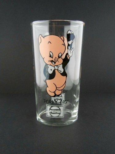 "Porky Pig 1973 Pepsi Glass - Rare Short Glass with Logo Under the Name - 5"" Tall"