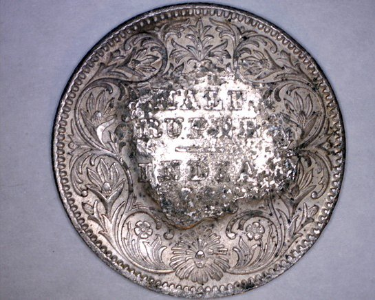 c.1900 French Somaliland Djibouti 1/2 Rupee Silver Coin c/s on Indian 1/2 Rupee
