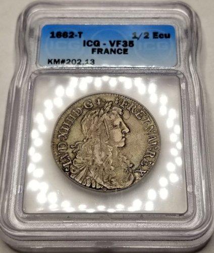 1662-T France 1/2 Ecu World Silver Coin ICG VF35 - Louis XIV