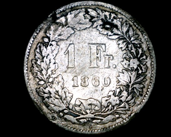 1860-B Swiss 1 Franc World Silver Coin - Switzerland - Mount Removed