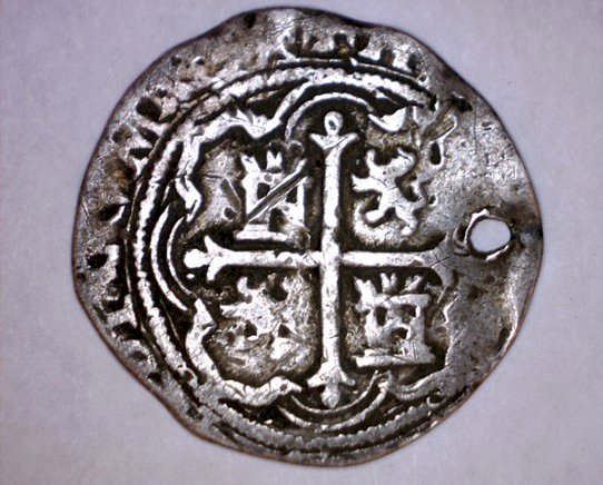 ND(1556-98)MoO Mexico Cob Coinage 1 Real World Silver Coin - Philip II- Holed