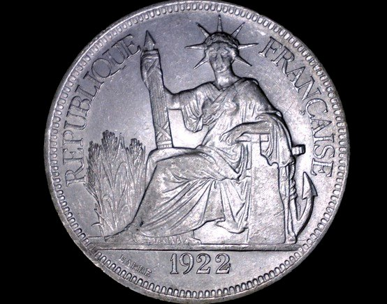 1922-H French Indo-China 1 Piastre World Silver Coin - Vietnam