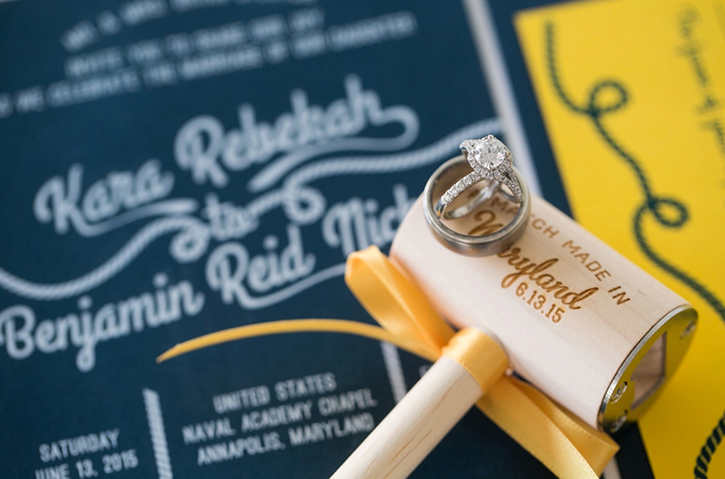 Photo of a Crab Mallet Bottle Opener with Wedding Rings