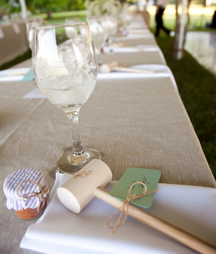 Photo of a Engraved Crab Mallet Favor with Crab Seasoning Favor