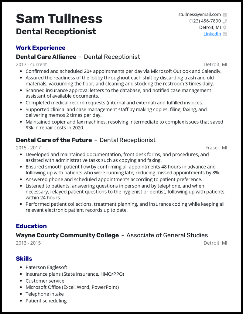5 Receptionist Resume Examples For 2021