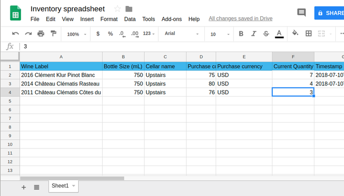 Sheets screenshot