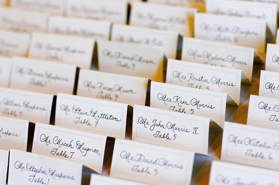 Beautiful escort cards u laura hooper calligraphy