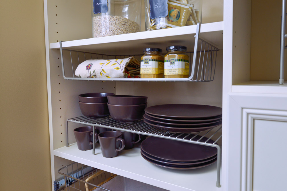 Organized-Living-nickle-under-shelf-basket-and-adjustable-shelf-on-open-shelving-in-pantry