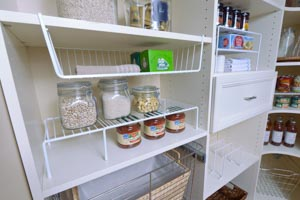 Organized-Living-white-under-shelf-basket-and-adjustable-shelf-on-white-pantry-shelves