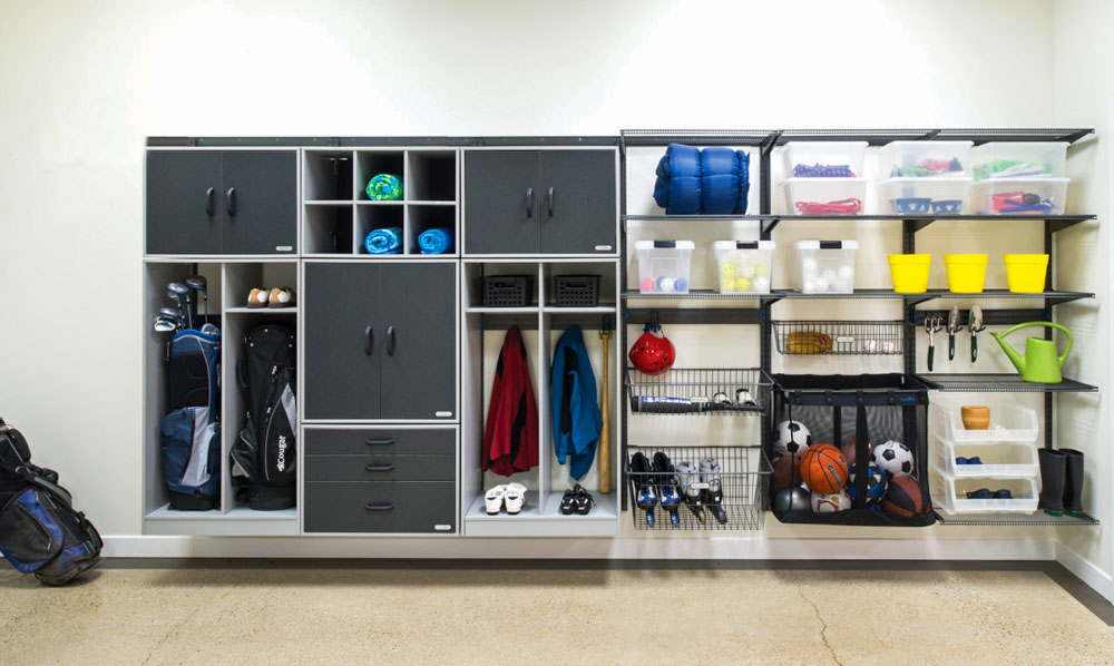 freedomRail-garage-storage-wall-with-cabinets-cubbies-and-baskets
