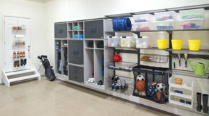 freedomRail-garage-storage-wall-with-shelving-cabinets-cubbies-and-baskets