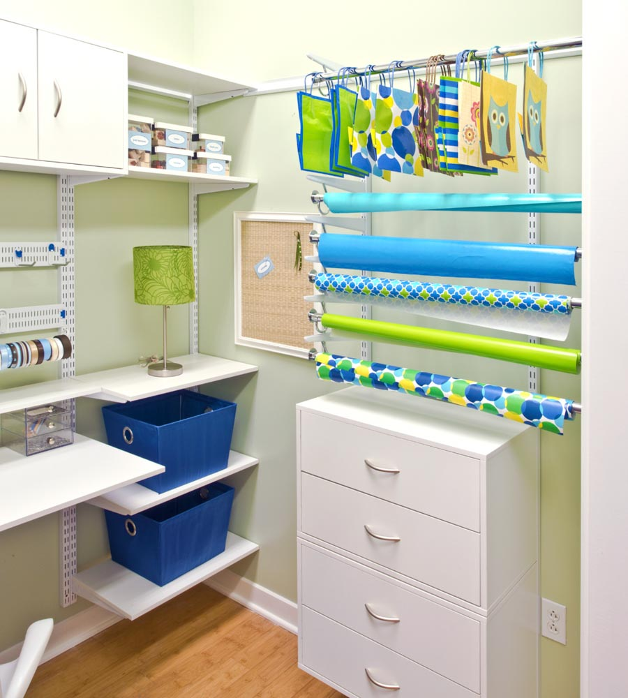 White-freedomRail-craft-room-with-wrapping-paper-storage-and-open-shelves