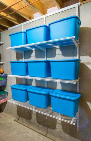 White-freedomRail-storage-room-ventilated shelves-holding-bins