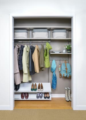 White-and-nickle-freedomRail-hall-closet-with-shoe-shelf-hooks-and-hanging-rod