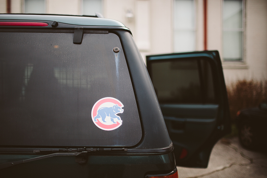 chicago cubs sticker on car