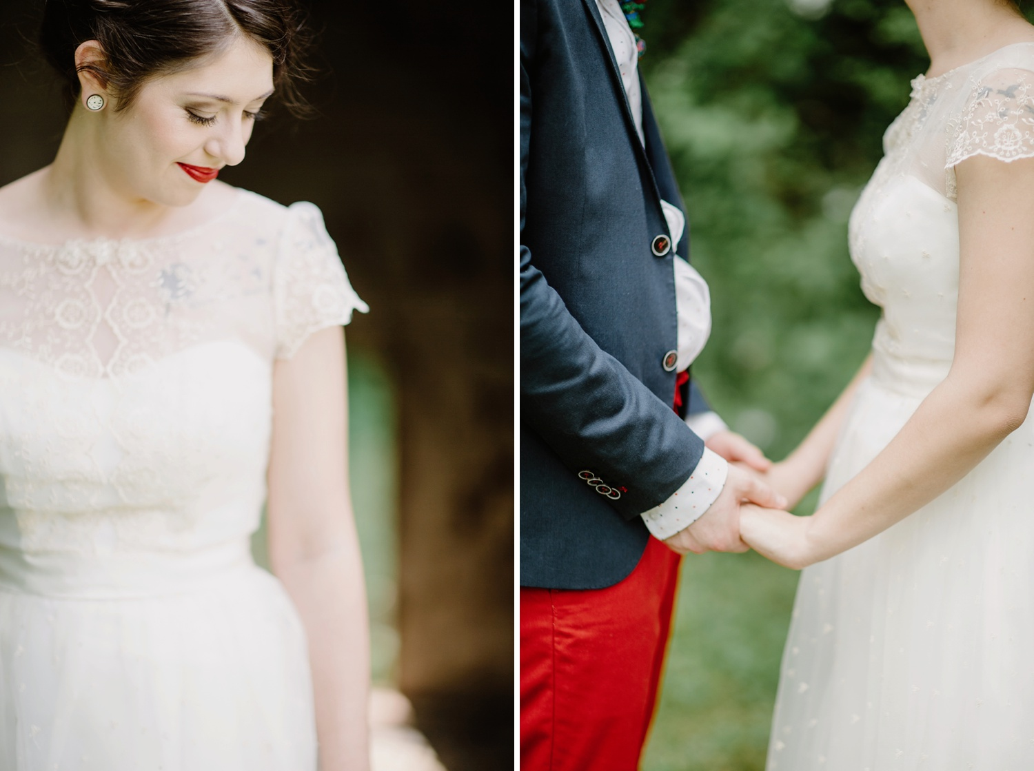 bride with red lipstick and lace cap sleeve dress