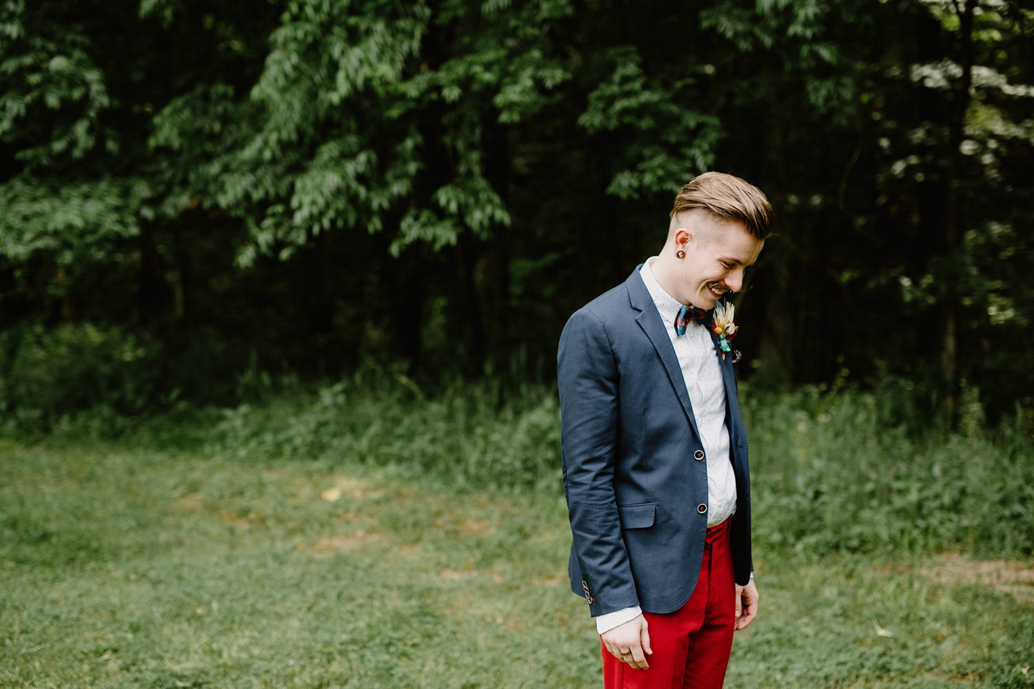 groom in red pants on wedding day nashville tennessee