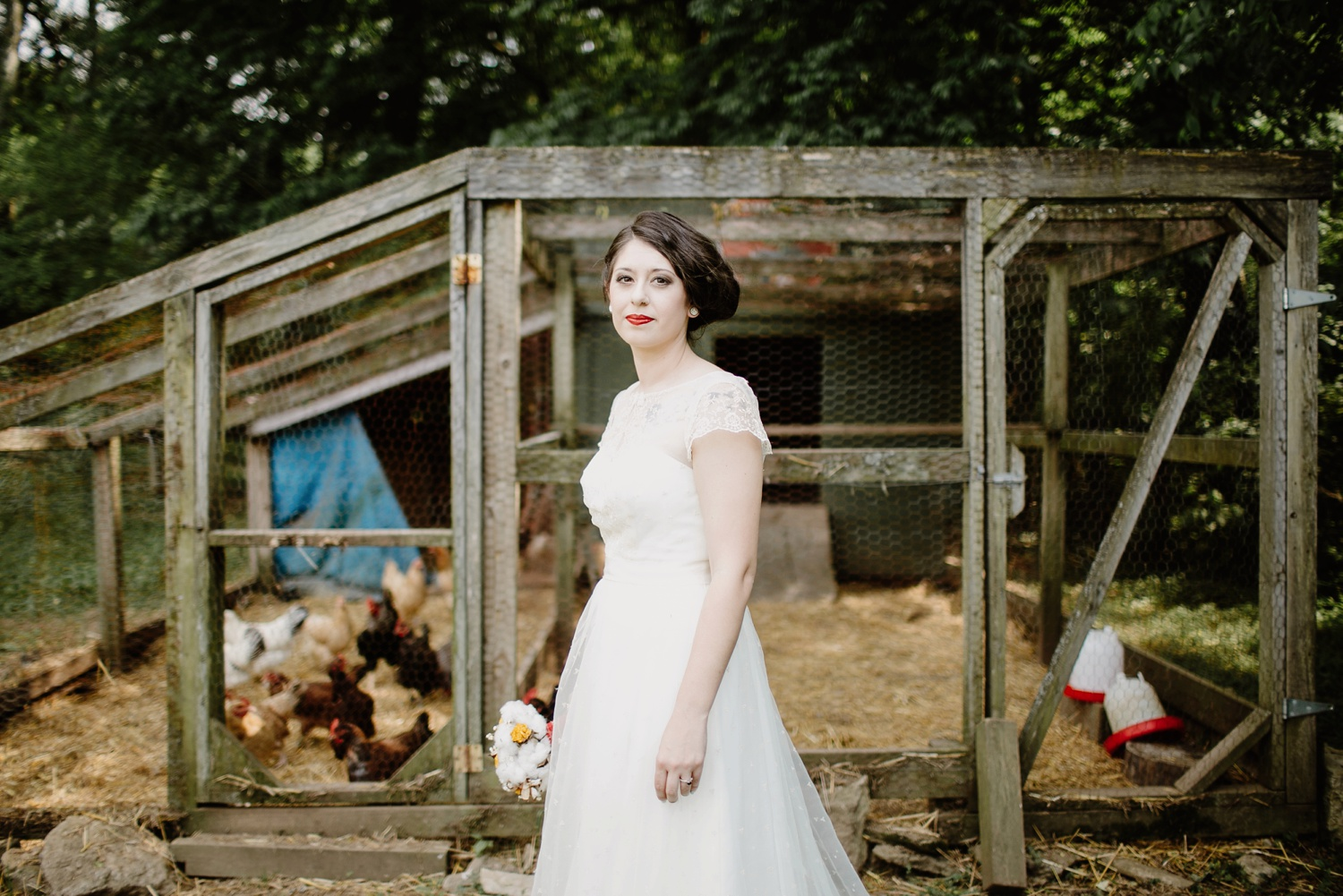 bride standing in front of chickens nashville tn